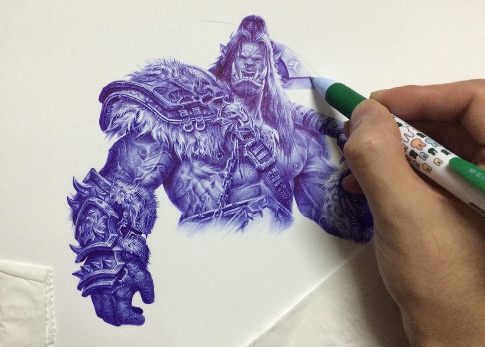魔兽世界玩家圆珠笔手绘还原地狱咆哮