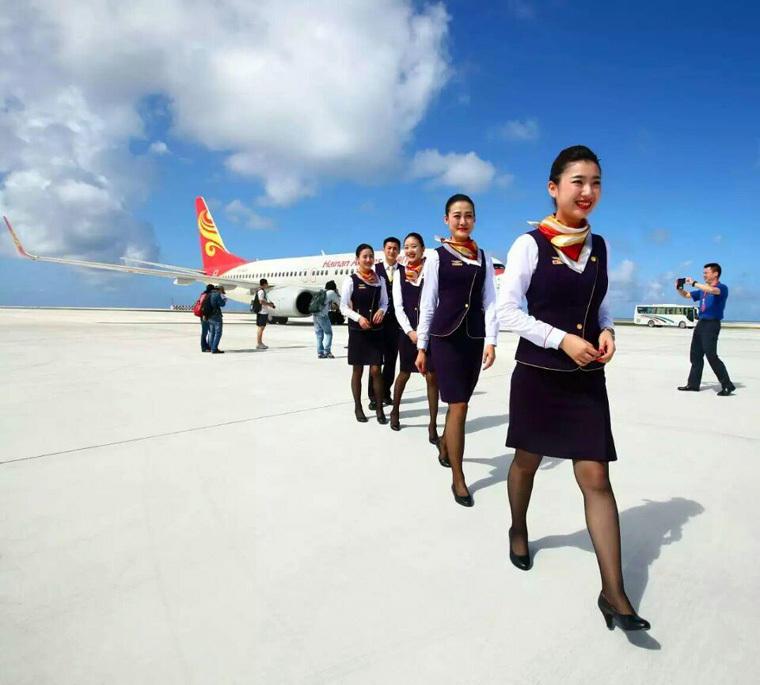 组图:中国空姐登上南沙永暑礁 娇美礁更美 - 海阔山遥 - .