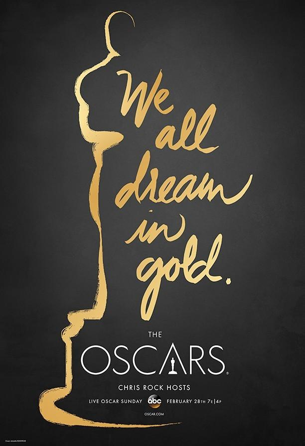 """We All Dream In Gold""""为宣传语,金色手写体字样与小金人的一半"""