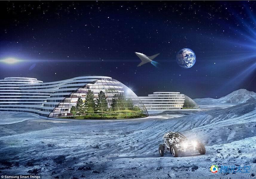 星球建立殖民基地.图中显示的是外星球基地可以种植植物,人类乘