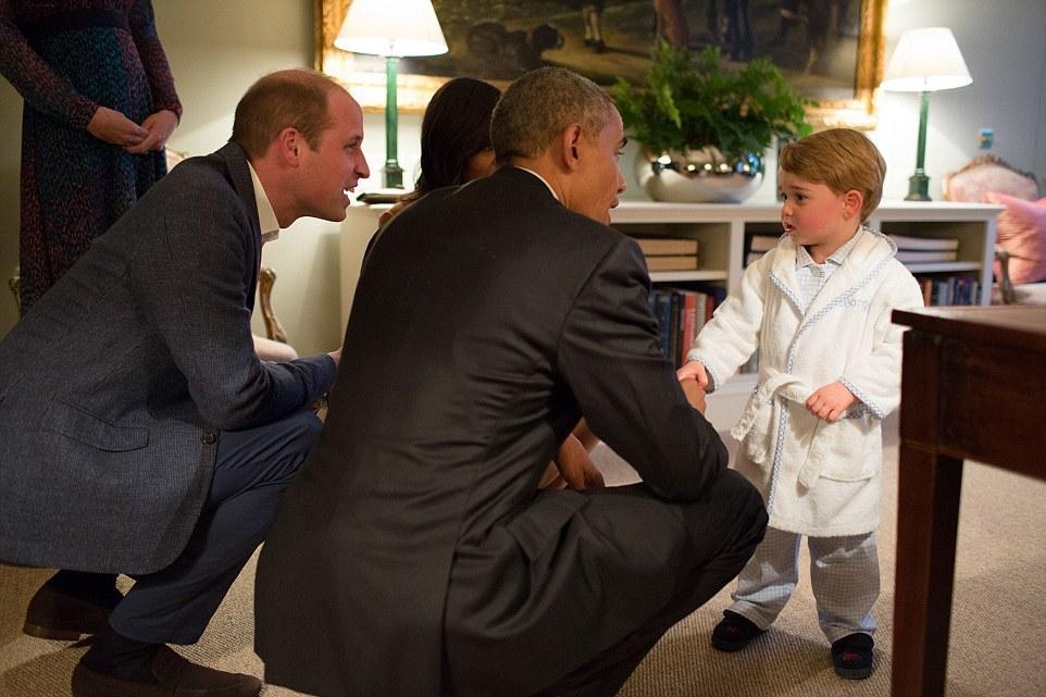 英国乔治小王子穿睡衣见奥巴马表情是这样的 6park.com