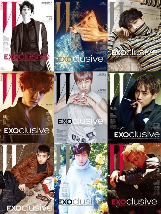 6月17日,EXO特辑画报公开,SM联手时尚杂志W共同进行了EXO