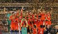 高清:智利豪夺百年美洲杯冠军 比达尔吻奖杯