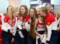 高清:俄罗斯花游队出征里约 队员笑颜如花