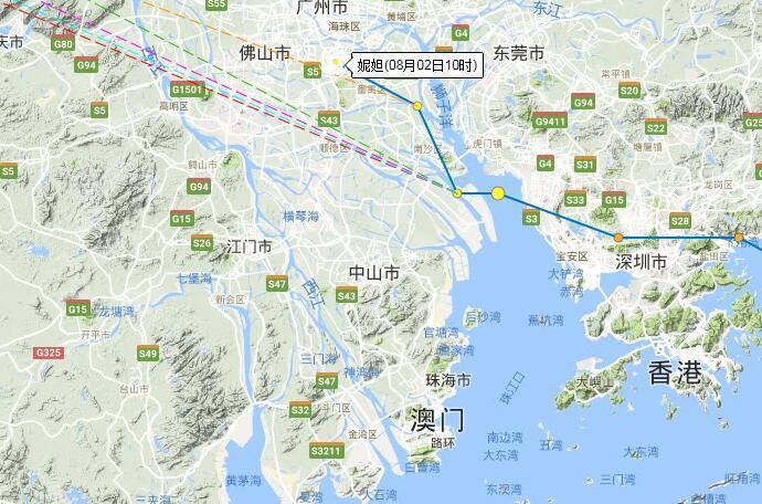 """上午10时,据珠海天气发布的消息称:10时台风""""妮妲""""(强热带风"""