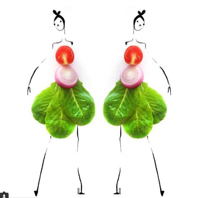 美设计师巧妙结合果蔬与素描打造时装