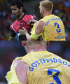 高清:比赛太激烈 手球赛瑞典选手球衣遭撕裂