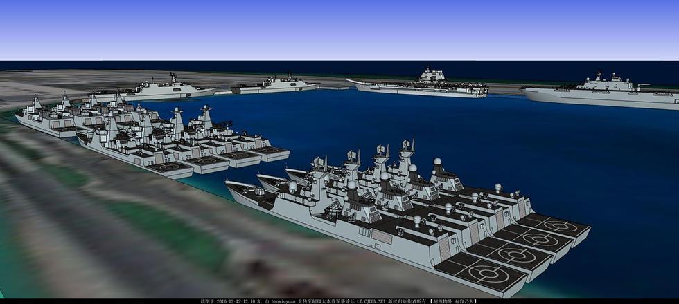 镇守中国南海!001a航母编队停靠永暑岛cg图