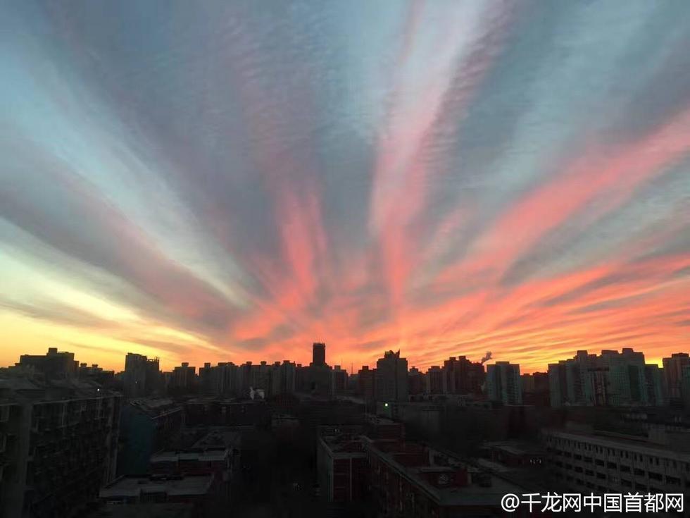 """北京冷空气来袭雾霾消散 清晨现""""粉红""""朝霞2017.1.10 - fpdlgswmx - fpdlgswmx的博客"""