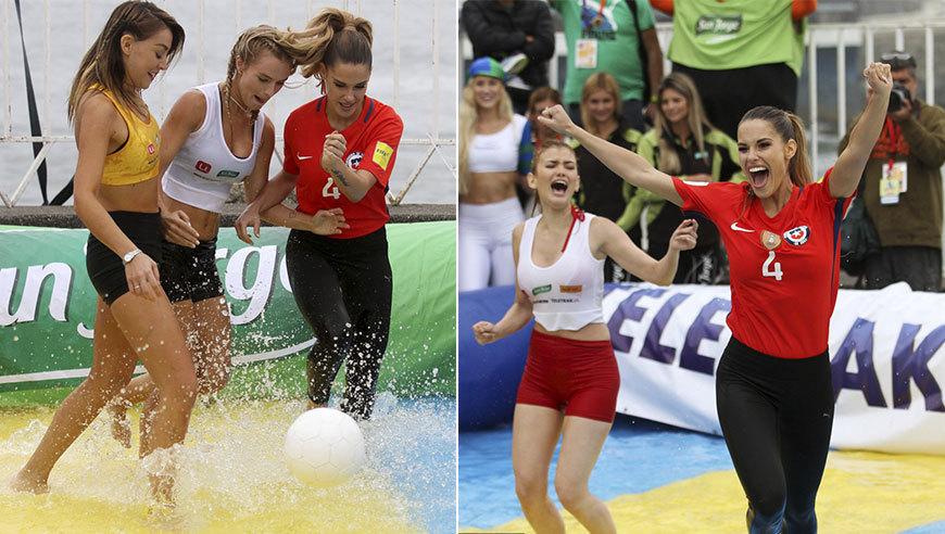 众美女踢水上足球 性感湿身上演肉体碰撞