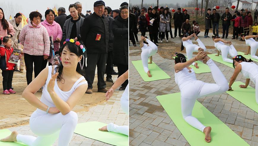高清:看呆大爷大妈!数名女子田间地头练瑜伽