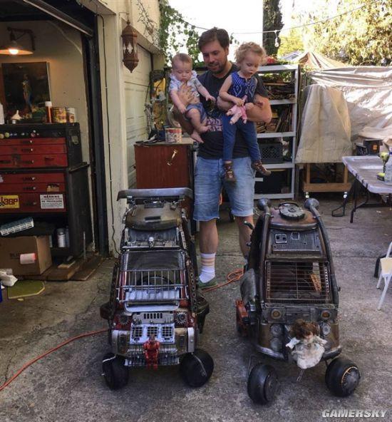 """国外老爸爆改儿童车 废旧零件再现""""疯狂的麦克斯"""""""
