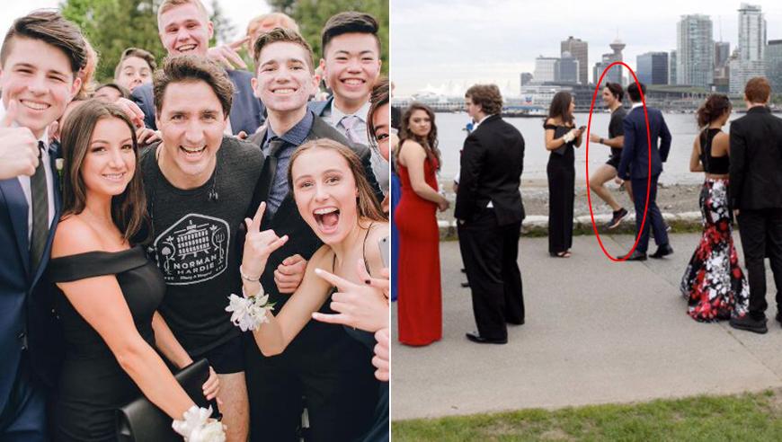 加拿大总理又火一把!跑步抢镜高中生毕业照