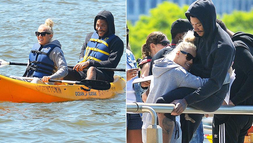 高清:罗斯约会竟划船 遭女友熊抱街头秀恩爱