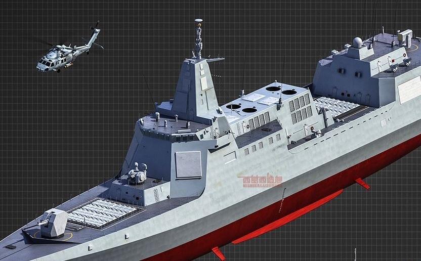 比肩美军:055万吨驱逐舰全身精美CG