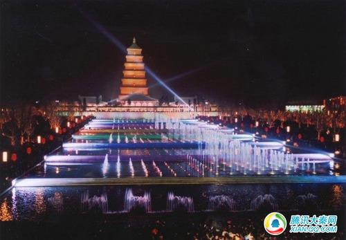 亚洲最大的喷泉广场 大雁塔北广场