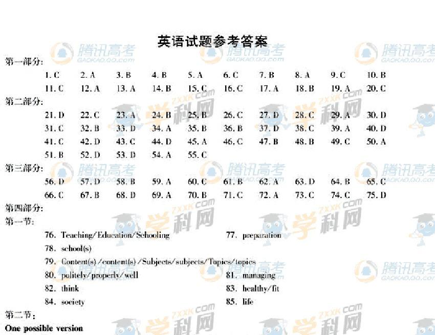 2011年高考:2011安徽高考英语试题答案