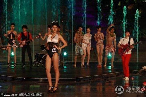 cctv模特大赛总决赛彩排 女选手比基尼秀身材