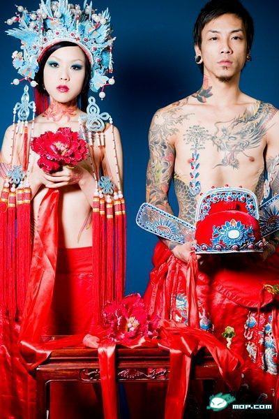刺青婚纱照 略微重口味