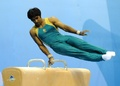 组图:大运会体操比赛 选手拍打鞍马表谢意
