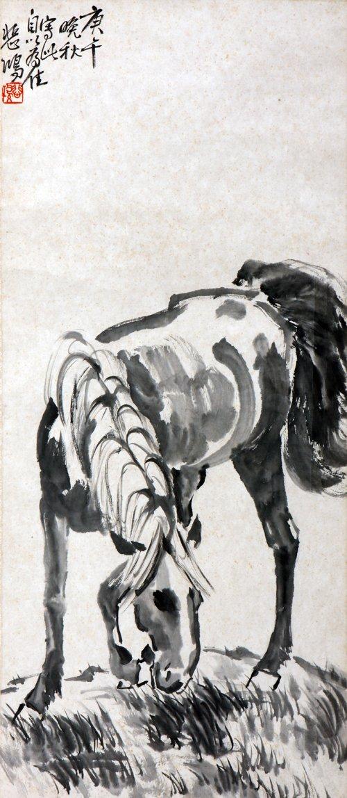 徐悲鸿画马有过大量的素描写生稿,对马的结构了如指掌.通过研究图片