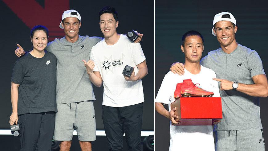 高清:C罗与李娜刘翔同框 现身为体育老师颁奖