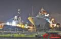中国军舰在伦敦宿泊夜景迷人