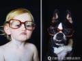 摄影师拍摄自家孩子与狗狗