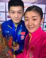 高水平自拍!陈梦樊振东总决赛夺冠后同框(图)