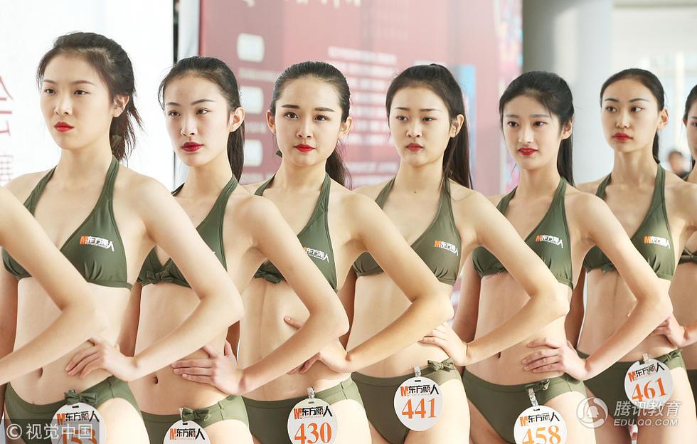 模特空乘艺考女生泳装pk 满屏高颜值大长腿