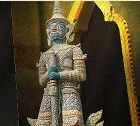 泰国馆第二展厅泰国门神因陀罗耆特惹人注目