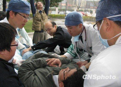 世博定点医院首次举行批量伤员救护演习(图)