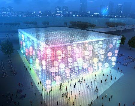 世博上海企业联合馆每晚上演8分钟灯光秀