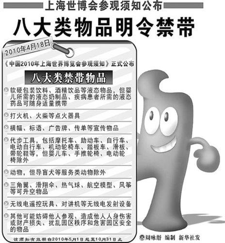 上海世博局公布打火机自行车等园区禁入名单