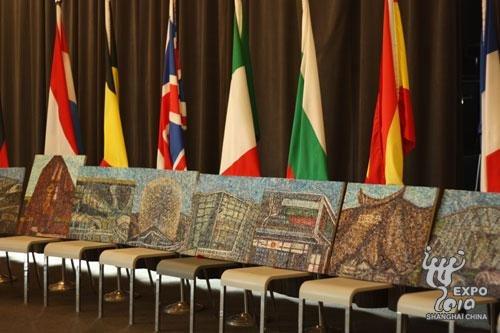 比利时-欧盟馆举办民间画家周明龙油画展