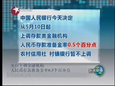 视频:央行10日起上调存款准备金率0.5%