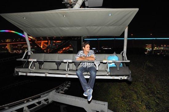 球星费德勒夜访瑞士馆 乘坐缆车俯瞰世博夜景
