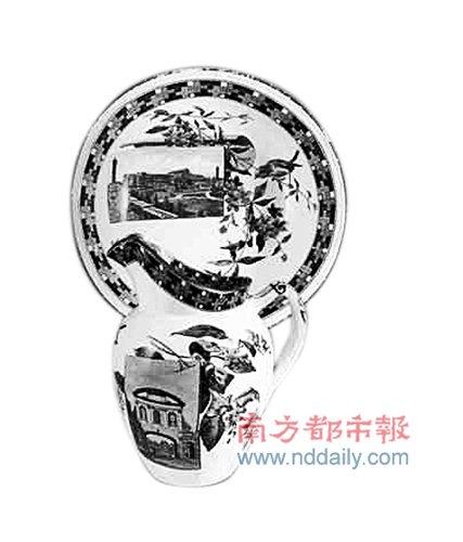 广州博物馆展出首届世博会展馆纪念瓷品
