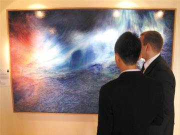 挪威馆:孙尧布面油画《极光之痕》揭幕(图)