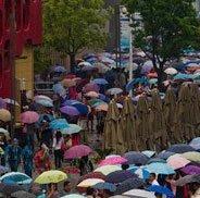 雨中参观世博的游客