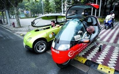 环保怪车途经世博 目的地联合国气候变化大会