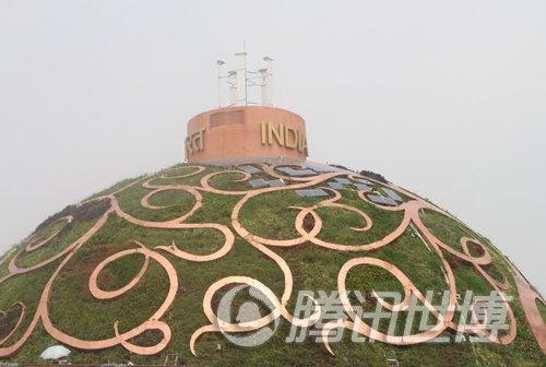 清新绿意覆盖印度馆 穹窿顶外墙系统自动浇灌