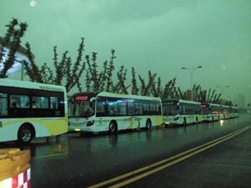 世博部分公交昨因雷雨停运 候车游客表示理解