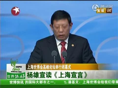 视频:世博高峰论坛闭幕式 杨雄宣读上海宣言