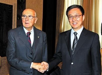 韩正会见意大利总统 世博之旗即将交棒米兰
