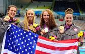 女子4X100米混合泳接力决赛回放:美国夺金中国第5