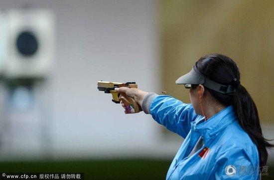 射击女子25米手枪韩国选手夺金 陈颖憾负摘银