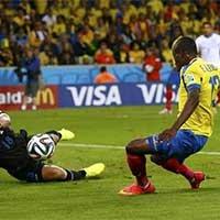 厄瓜多尔巴伦西亚推射破门扳平比分
