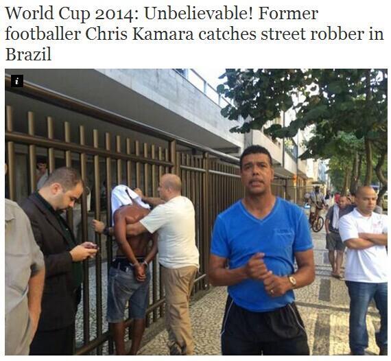 英超名宿老当益壮 赴巴西看世界杯竟生擒盗贼