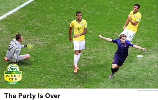 ESPN:巴西0-3不敌荷兰 世界杯桑巴派对结束